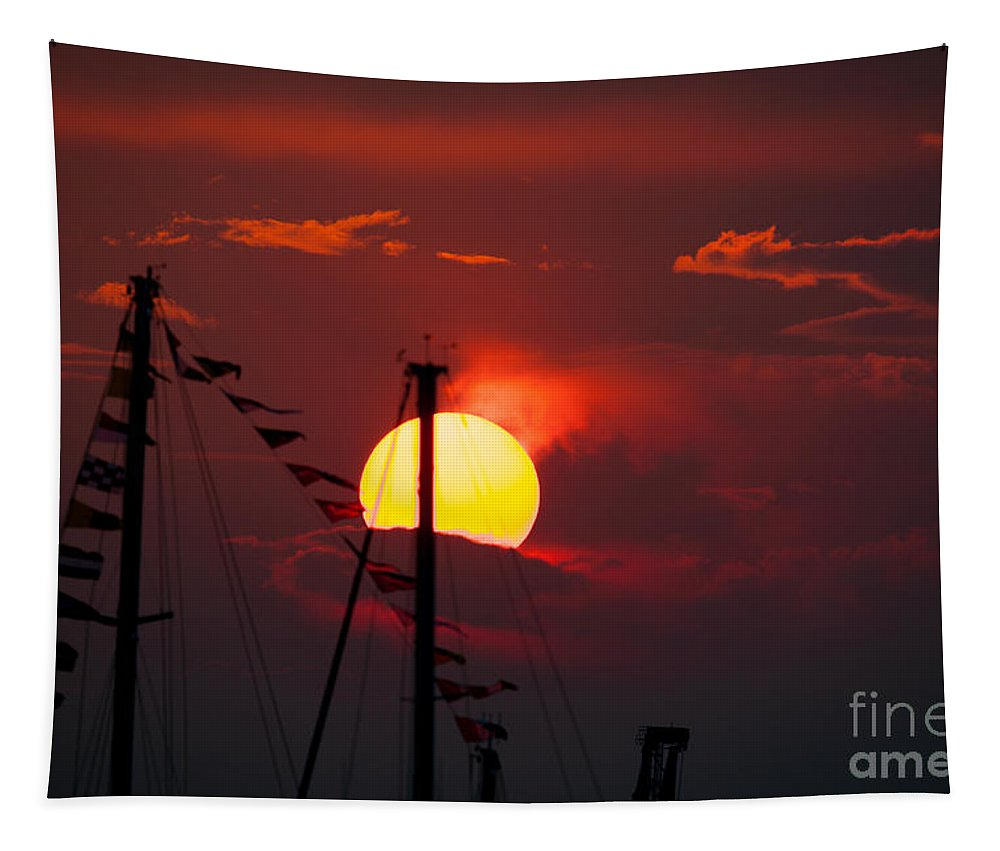 Red Sky At Night Tapestry featuring the photograph Red Sky At Night by Dale Powell