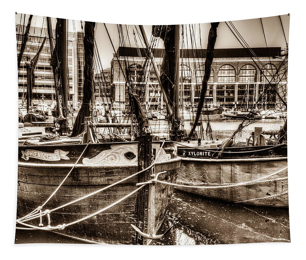 River Thames Tapestry featuring the photograph River Thames Sailing Barges by David Pyatt