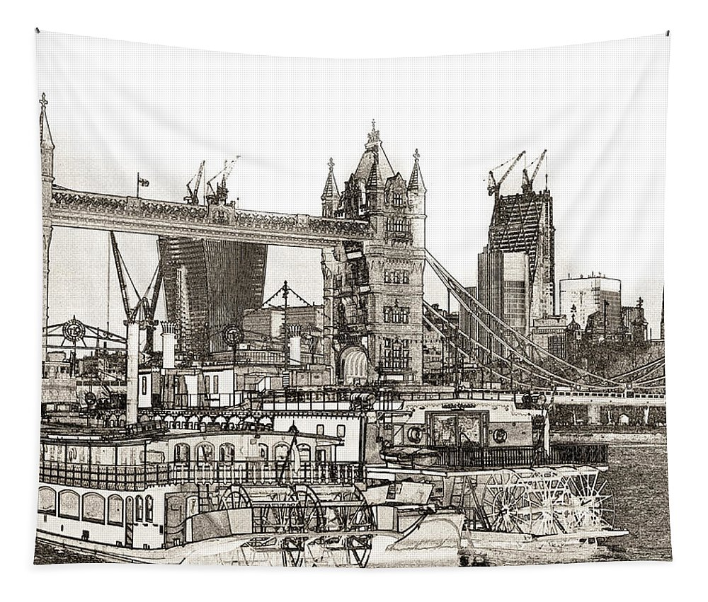 Paddle Steamers Tapestry featuring the digital art River Thames Sketch by David Pyatt