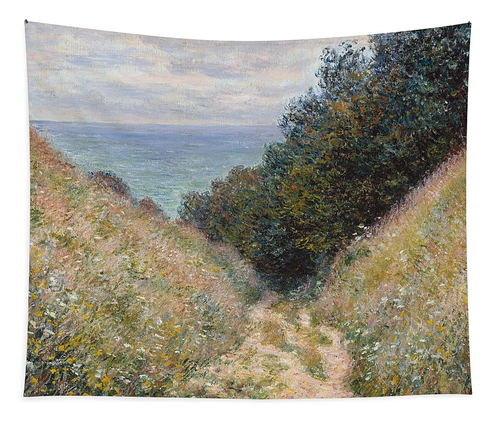 Claude Monet Tapestry featuring the painting Road At La Cavee by Claude Monet