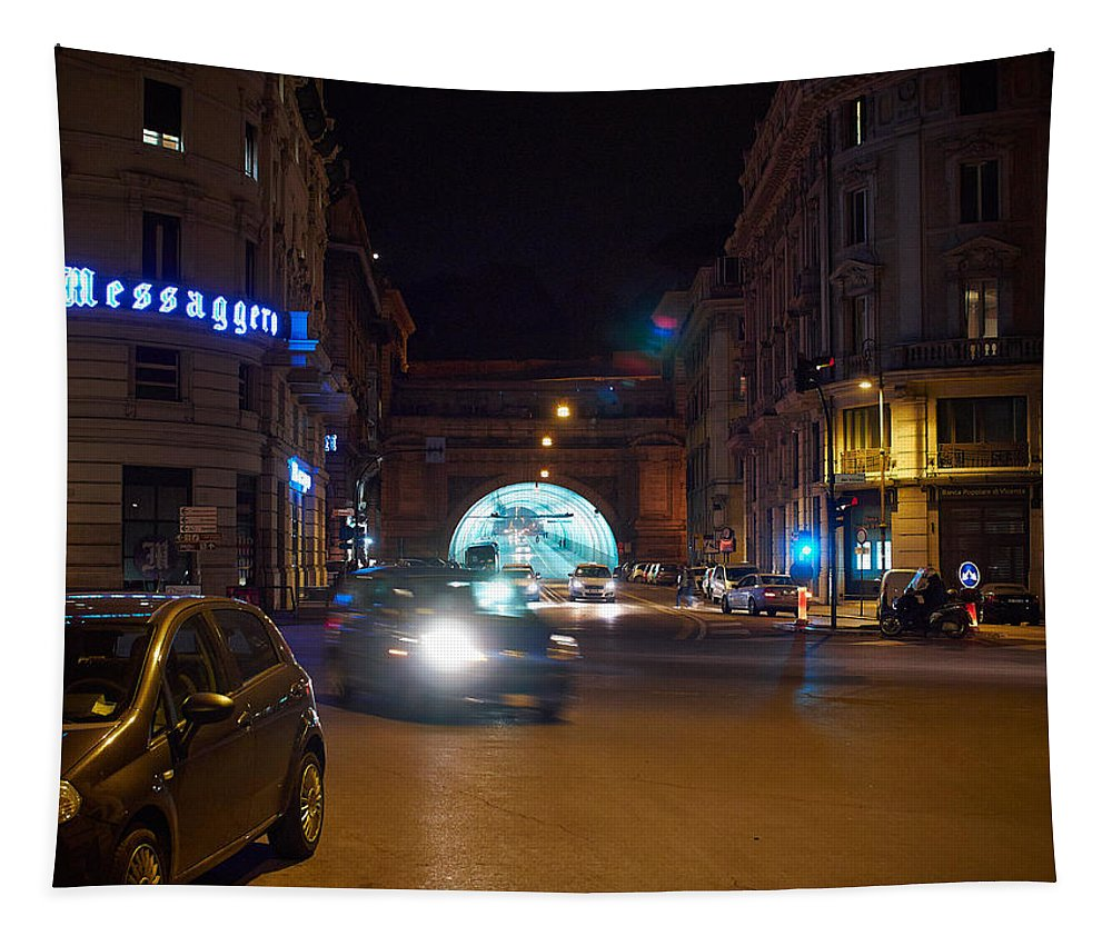 2013. Tapestry featuring the photograph Rome By Night by Jouko Lehto