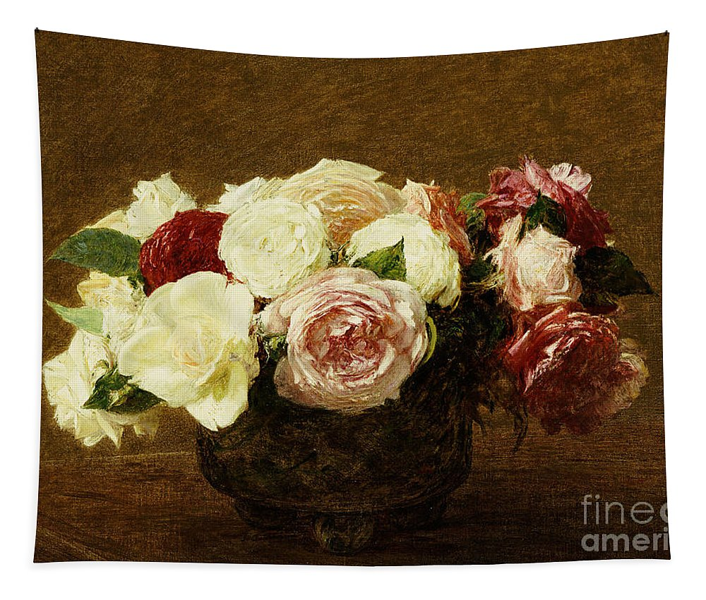 Roses Tapestry featuring the painting Roses by Ignace Henri Jean Fantin-Latour