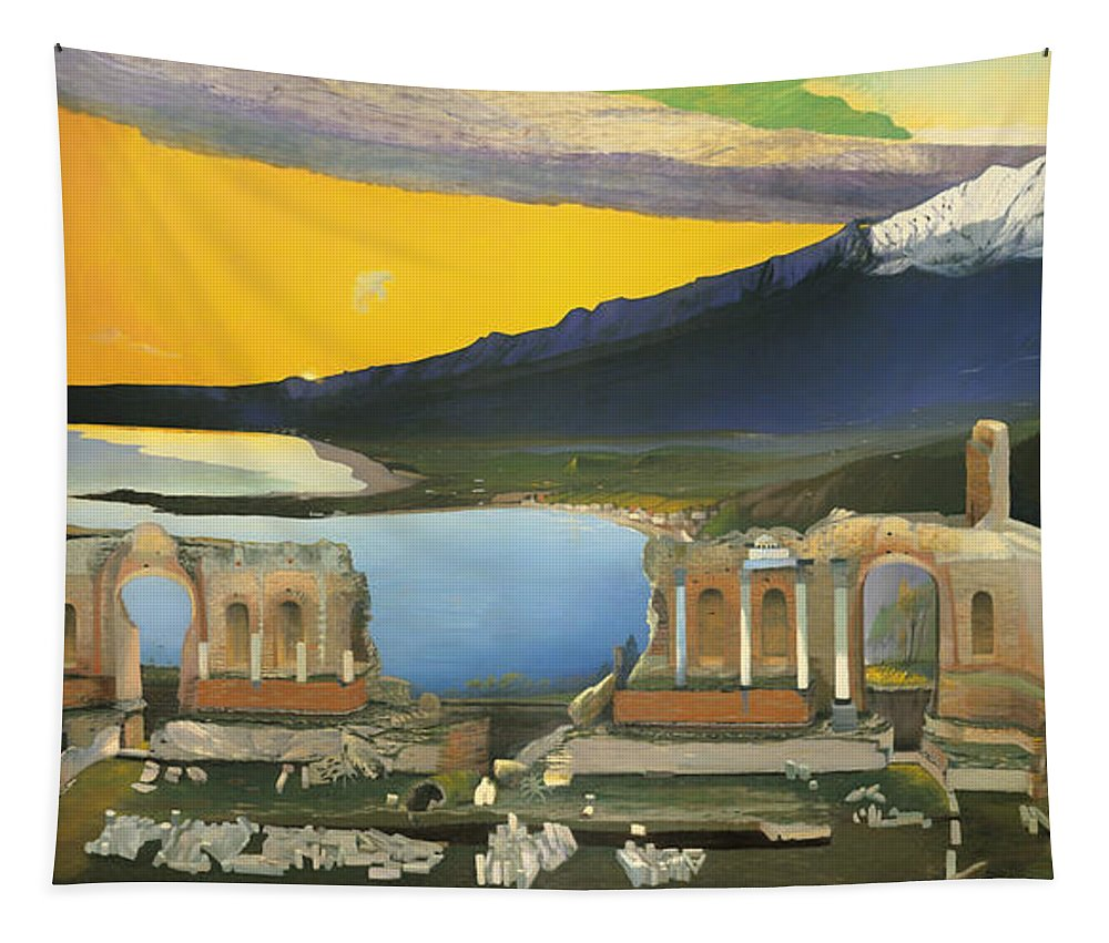 Painting Tapestry featuring the painting Ruins Of The Greek Theatre At Taormina by Mountain Dreams