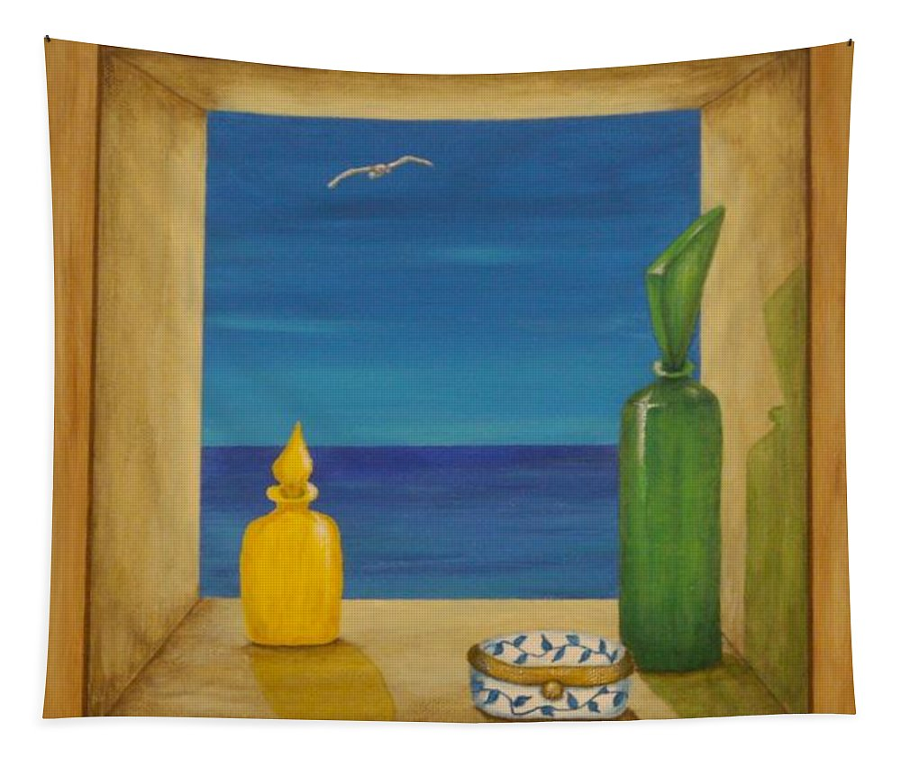 Pamela Allegretto Tapestry featuring the painting Sea View Two by Pamela Allegretto