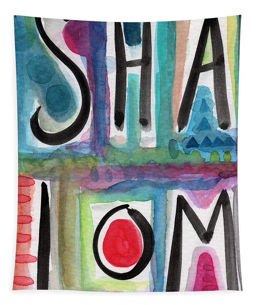 Shalom Tapestry featuring the painting Shalom by Linda Woods