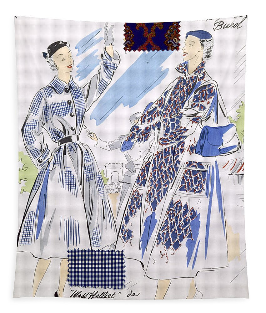 Female Tapestry featuring the drawing Sketches And Fabric Swatches by French School