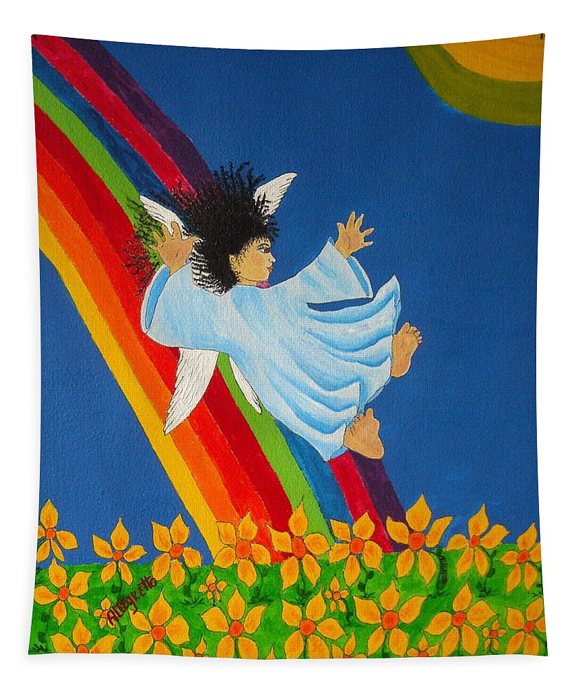 Pamela Allegretto Tapestry featuring the painting Sliding Down Rainbow by Pamela Allegretto