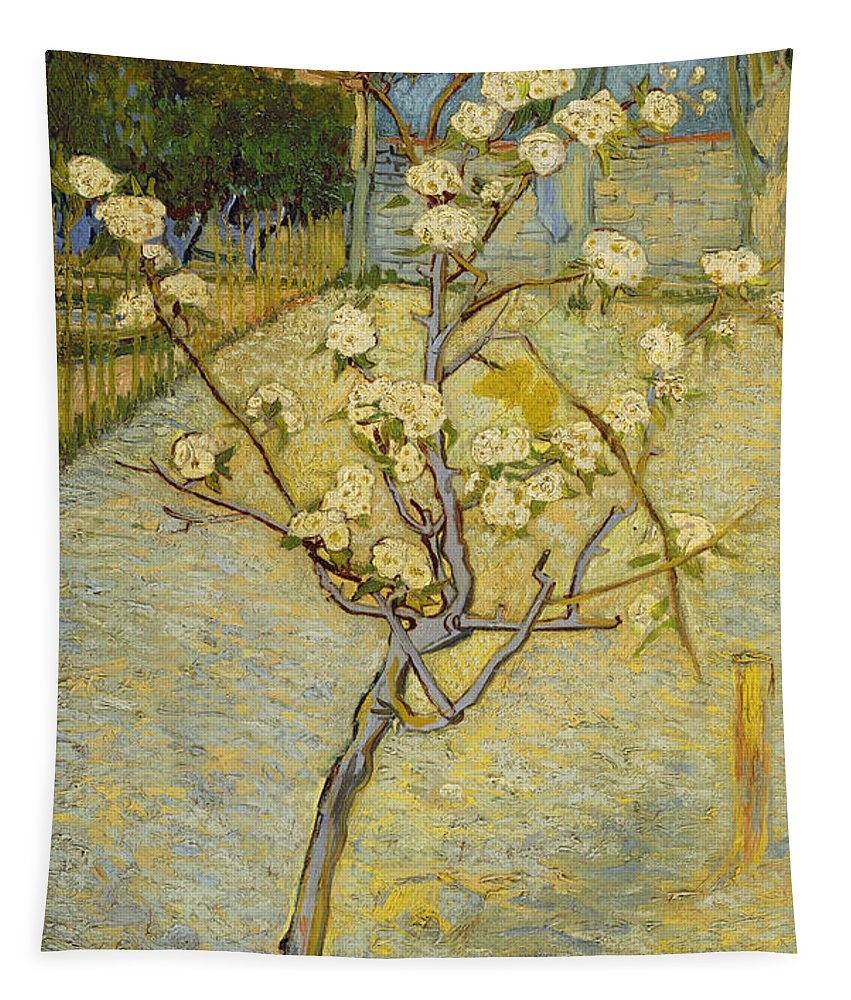 Vincent Van Gogh Tapestry featuring the painting Small Pear Tree In Blossom by Vincent Van Gogh