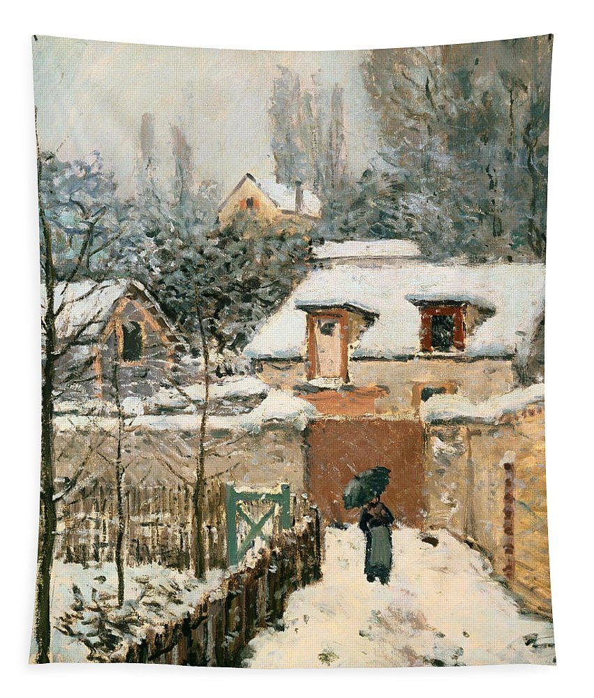 Painting Tapestry featuring the painting Snow At Louveciennes by Mountain Dreams