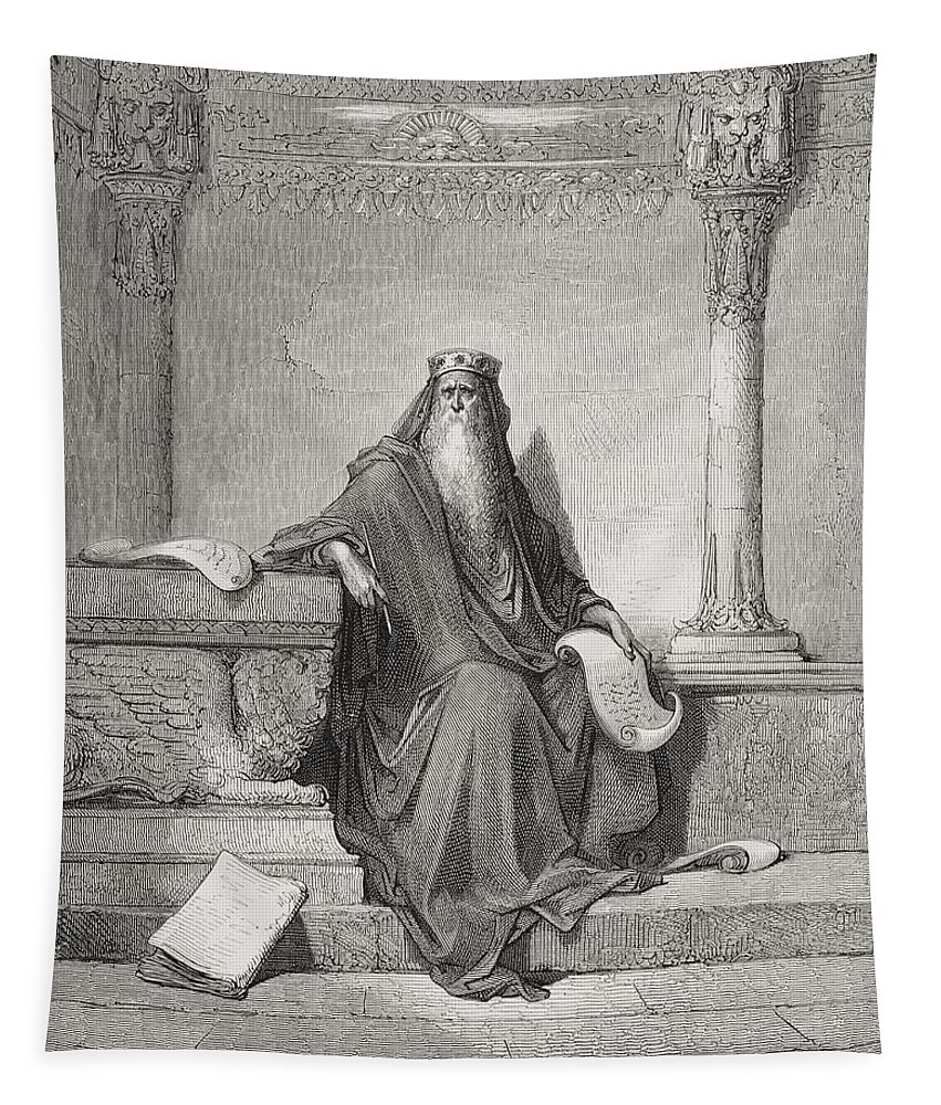 Wise Tapestry featuring the painting Solomon by Gustave Dore