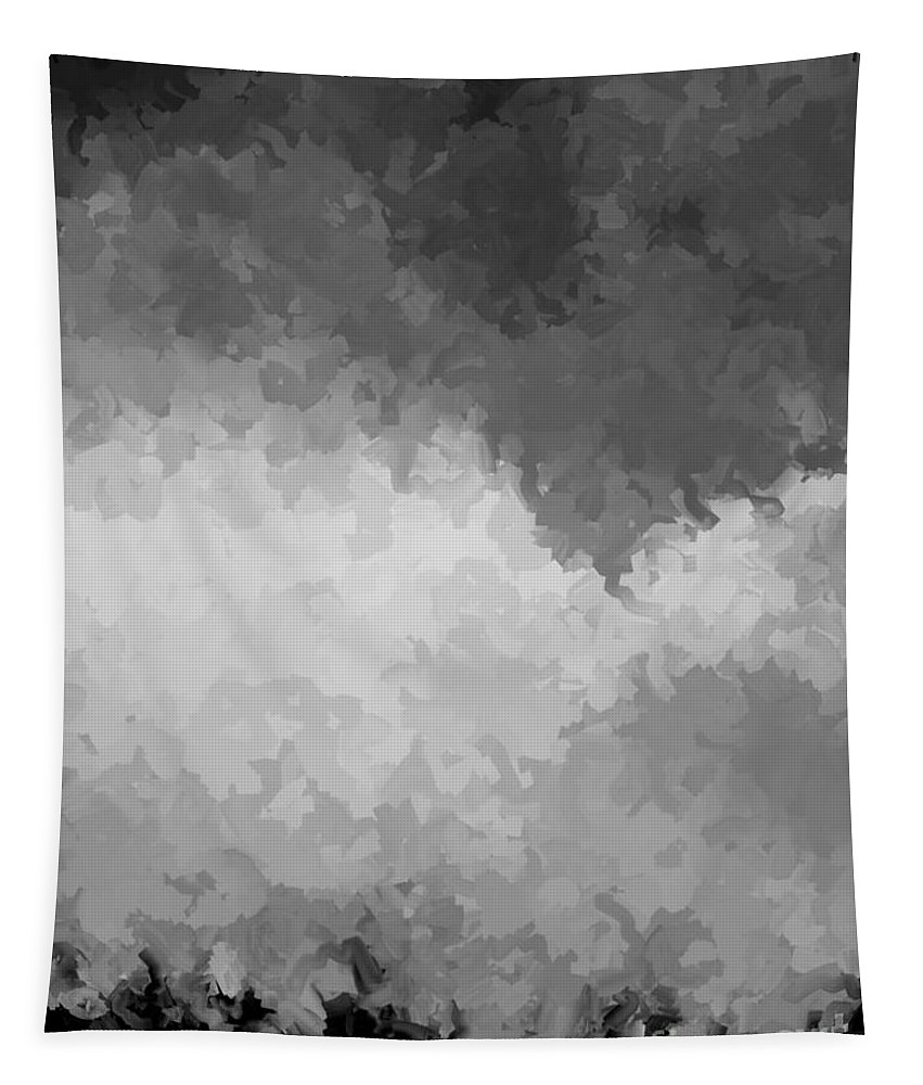 Digital Black And White Painting Tapestry featuring the digital art Storm Clouds Over A Cornfield Bw by Tim Richards