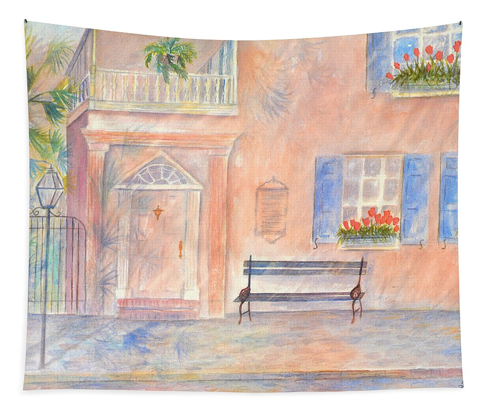 Charleston Tapestry featuring the painting Sunday Morning in Charleston by Ben Kiger