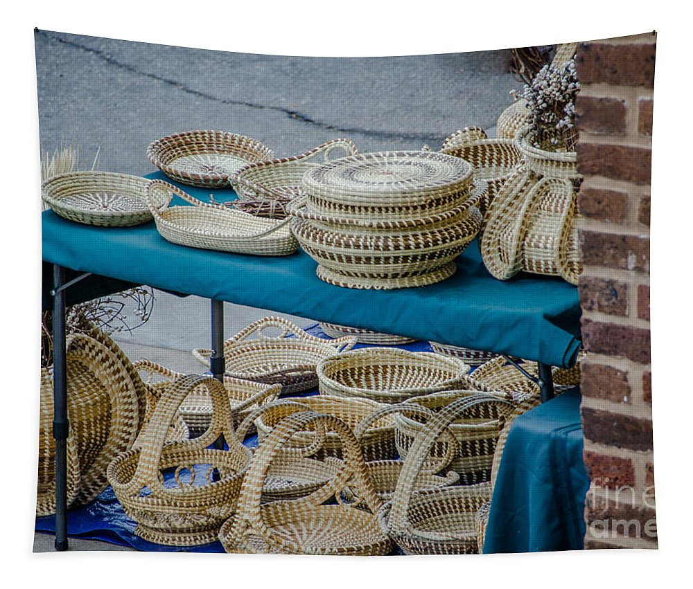 Sweet Grass Baskets Tapestry featuring the photograph Charleston Sc Sweet Grass Basket Stand by Dale Powell