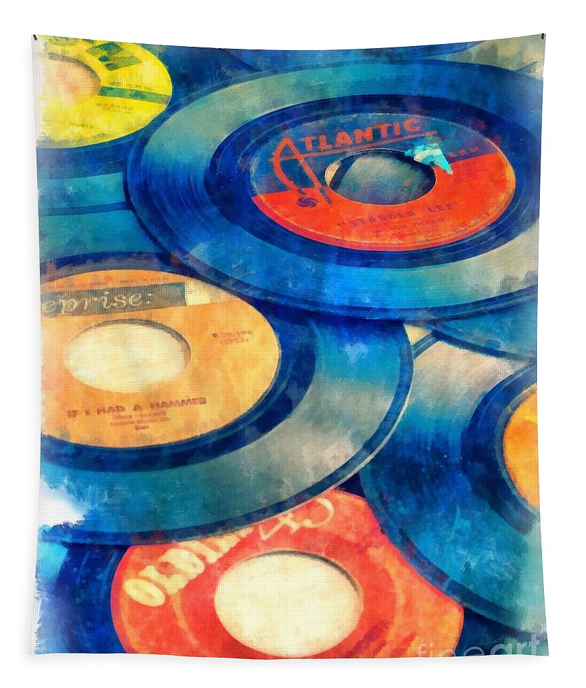 45s Tapestry featuring the photograph Take Those Old Records Off The Shelf by Edward Fielding