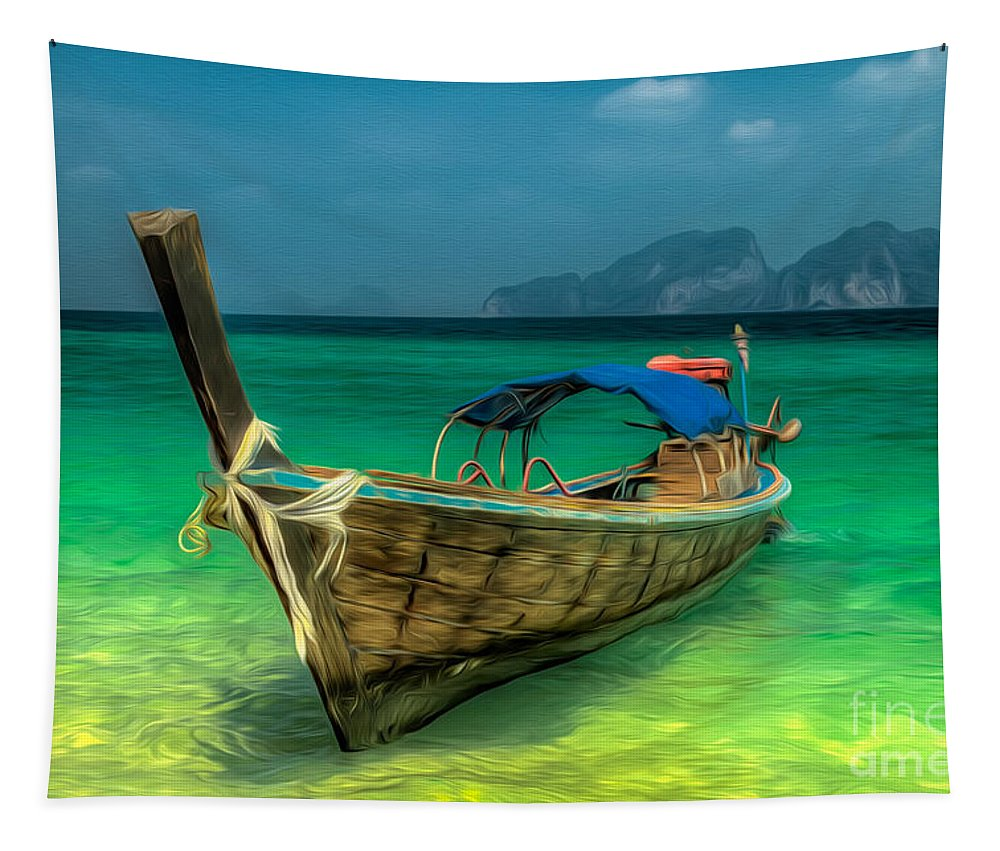 Boat Tapestry featuring the photograph Thai Longboat by Adrian Evans
