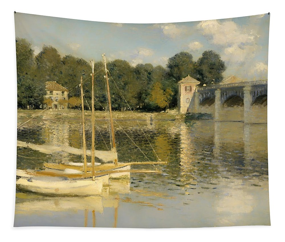 Painting Tapestry featuring the painting The Argenteuil Bridge by Mountain Dreams