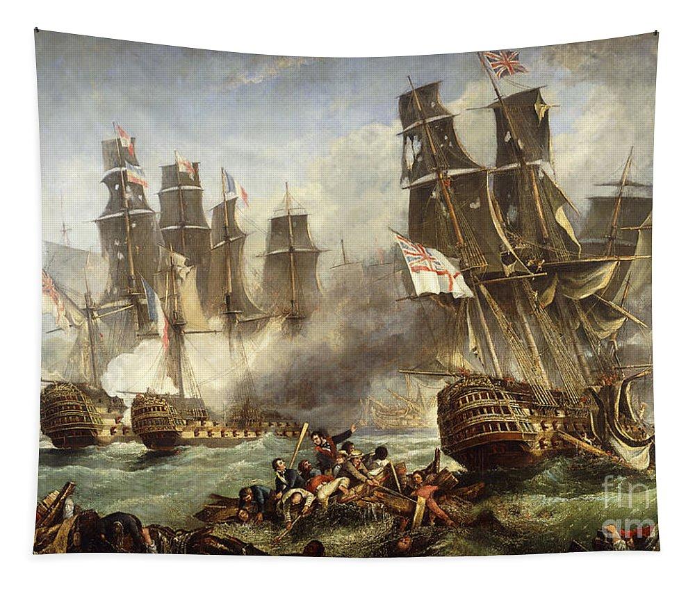 Battle Of Trafalgar Tapestry featuring the painting The Battle Of Trafalgar by English School