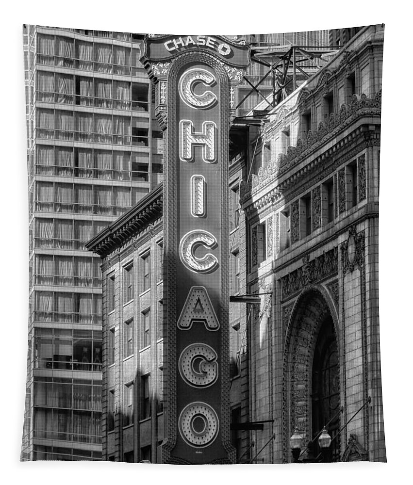 Chicago Tapestry featuring the photograph The Chicago Theatre by Mountain Dreams