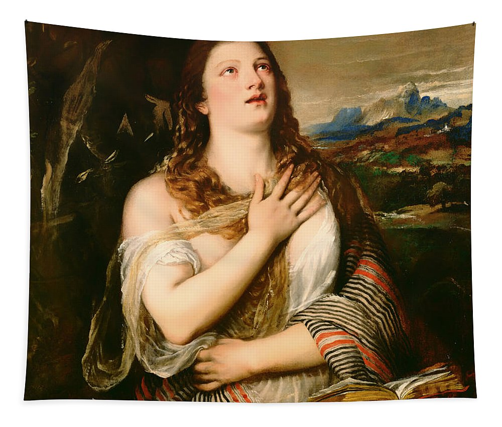 Painting Tapestry featuring the painting The Penitent Magdalene by Mountain Dreams
