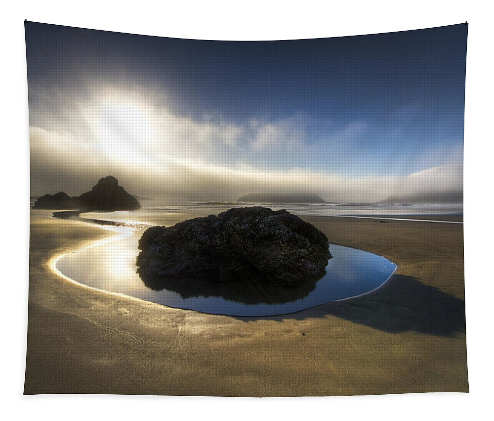 Clouds Tapestry featuring the photograph The Rock by Debra and Dave Vanderlaan