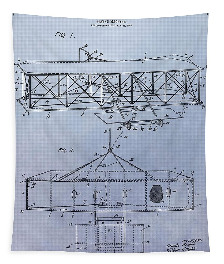 The Wright Brothers Airplane Patent Tapestry featuring the mixed media The Wright Brothers Airplane Patent by Dan Sproul