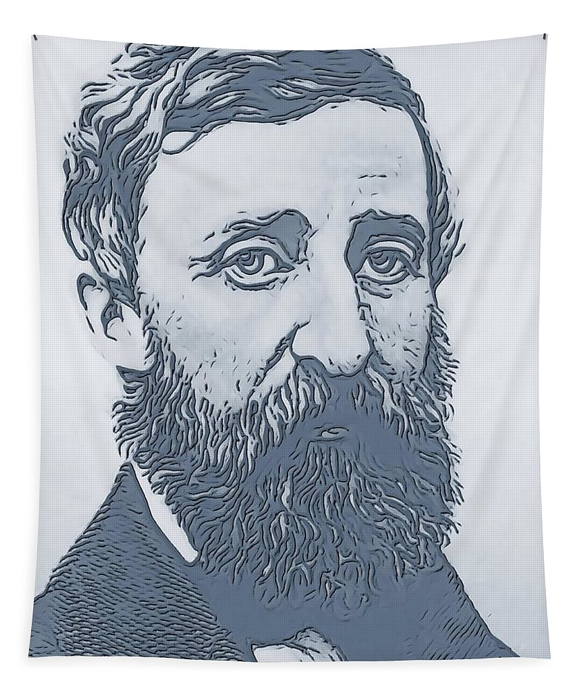 Thoreau Tapestry featuring the digital art Thoreau by Dan Sproul