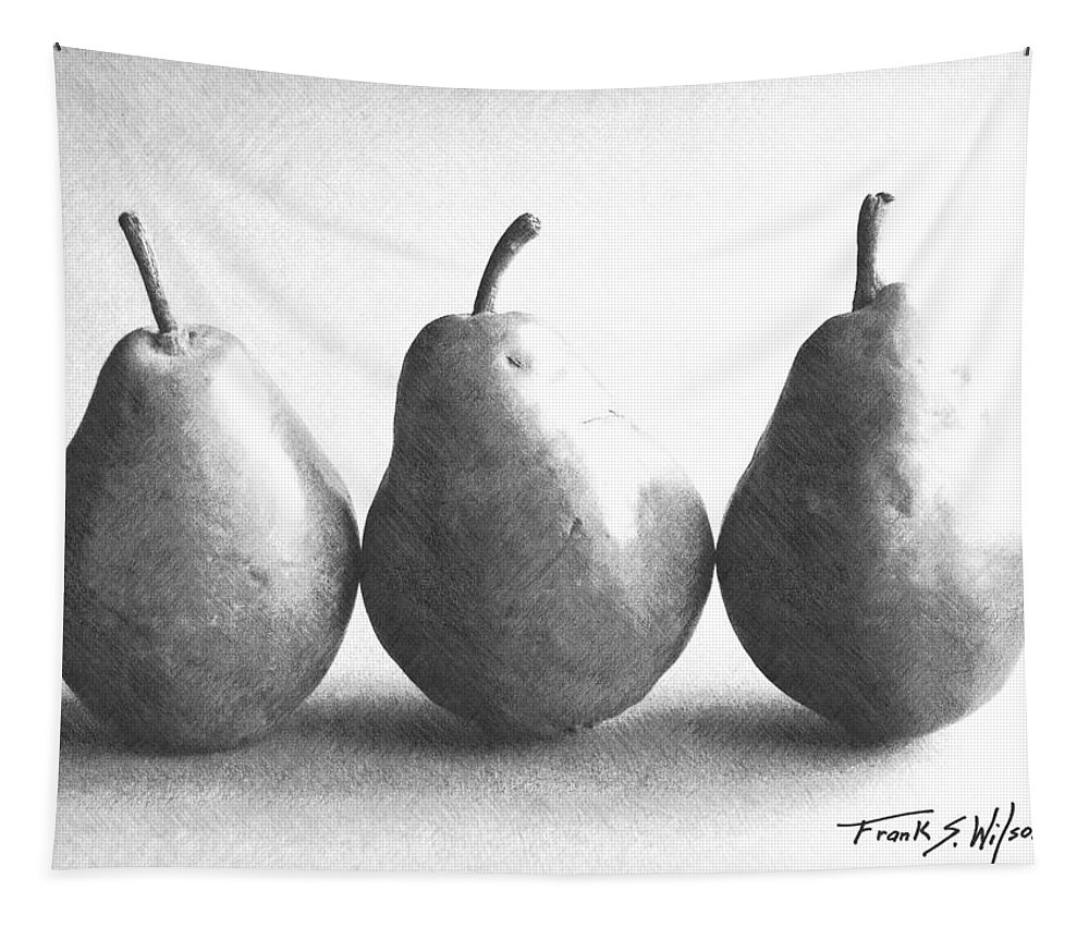 Three Pears Tapestry featuring the photograph Three Pears by Frank Wilson