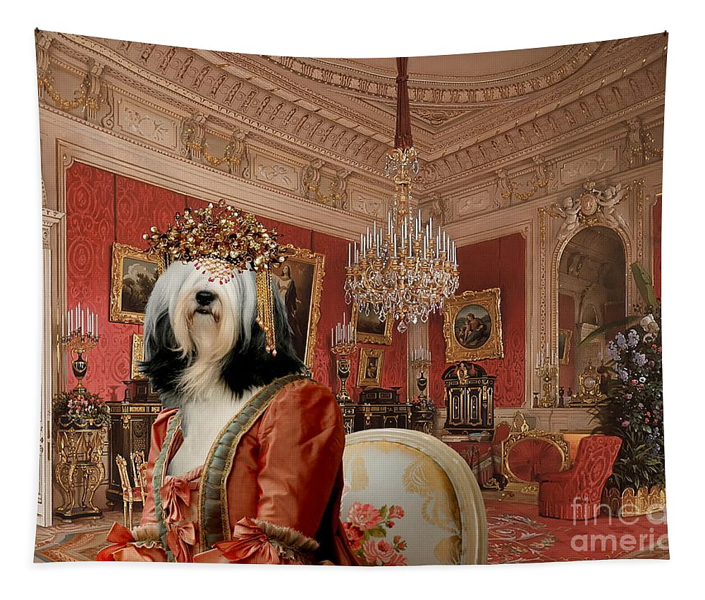 Tibetan Terrier Tapestry featuring the painting Tibetan Terrier Art Canvas Print by Sandra Sij