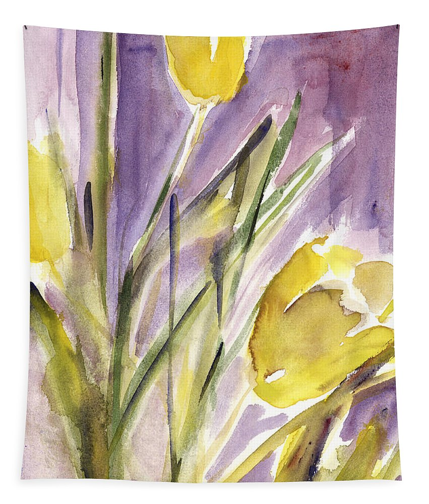 Tulip Tapestry featuring the painting Tulips by Claudia Hutchins-Puechavy