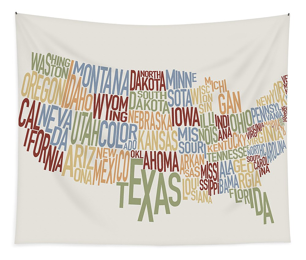 Usa Map Tapestry featuring the digital art United States Text Map by Michael Tompsett