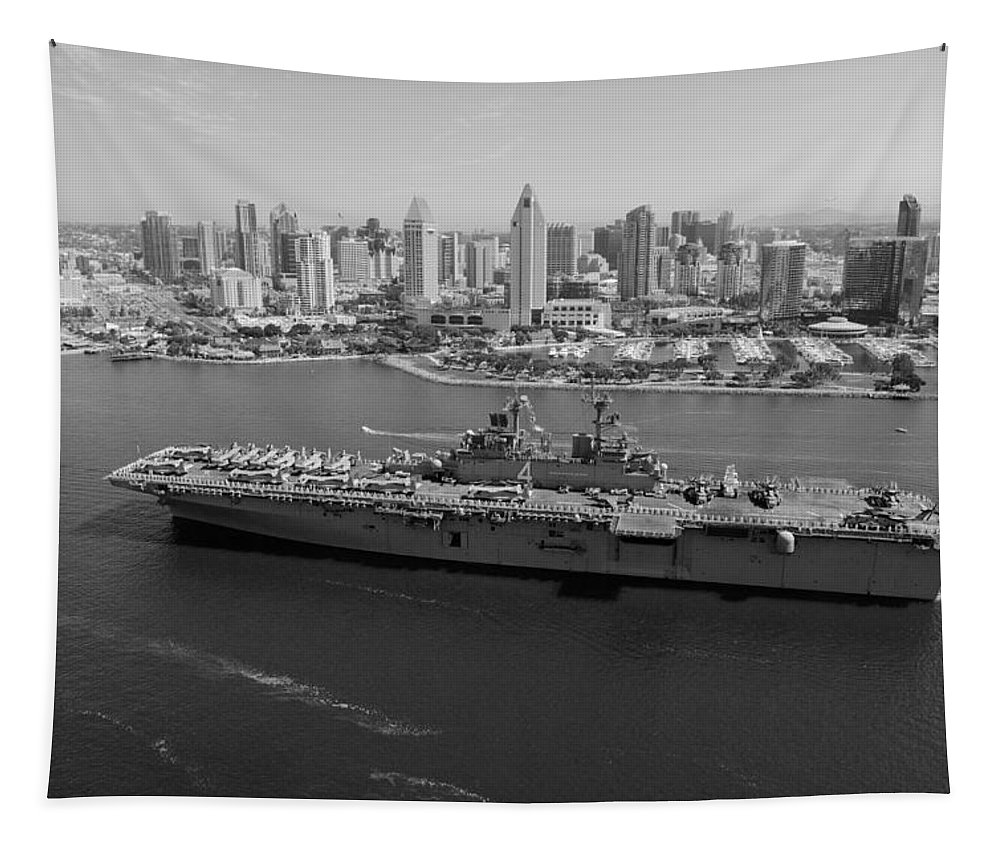 Uss Boxer Tapestry featuring the photograph Uss Boxer In San Diego by Mountain Dreams