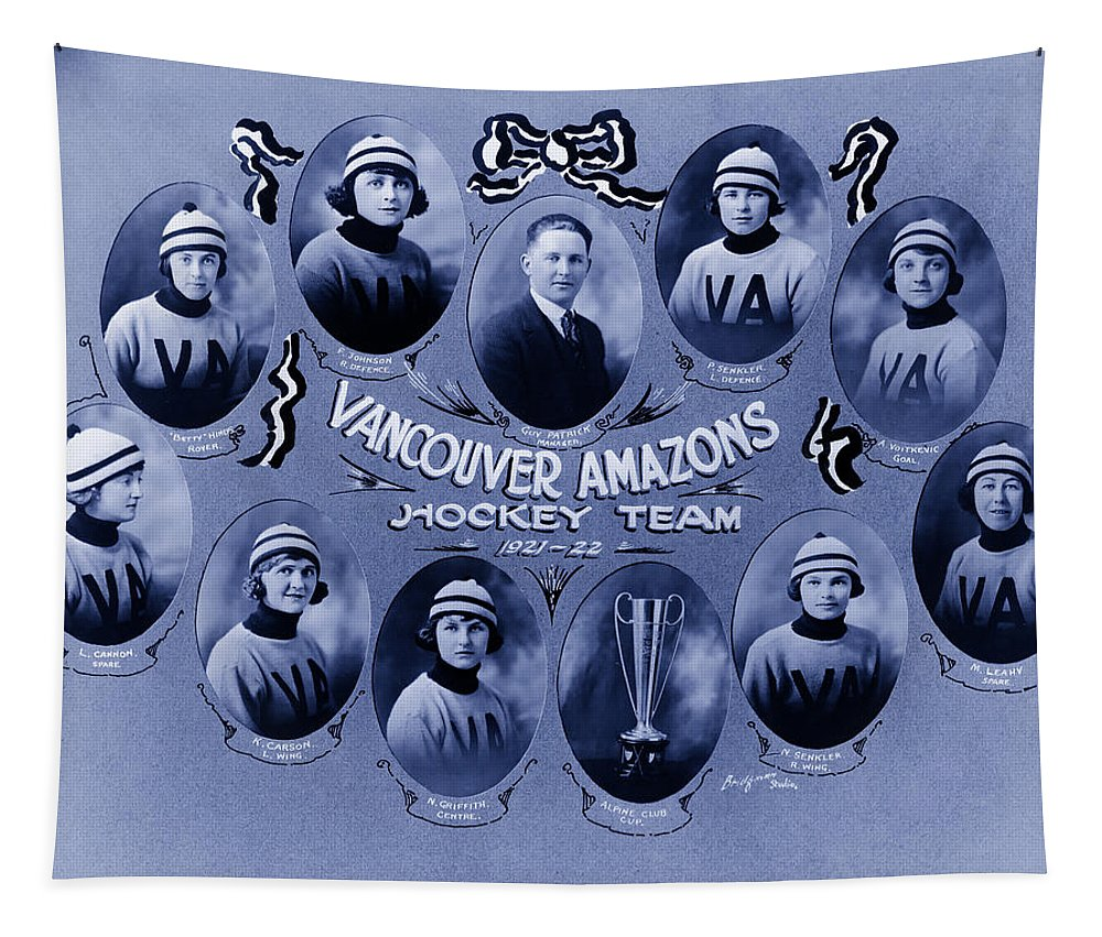 1921 Tapestry featuring the photograph Vancouver Amazons Women's Hockey Team 1921 by Mountain Dreams