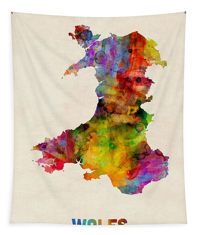 Map Art Tapestry featuring the digital art Wales Watercolor Map by Michael Tompsett