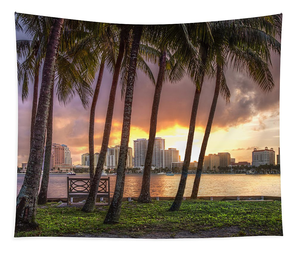 Boats Tapestry featuring the photograph West Palm Beach Skyline by Debra and Dave Vanderlaan