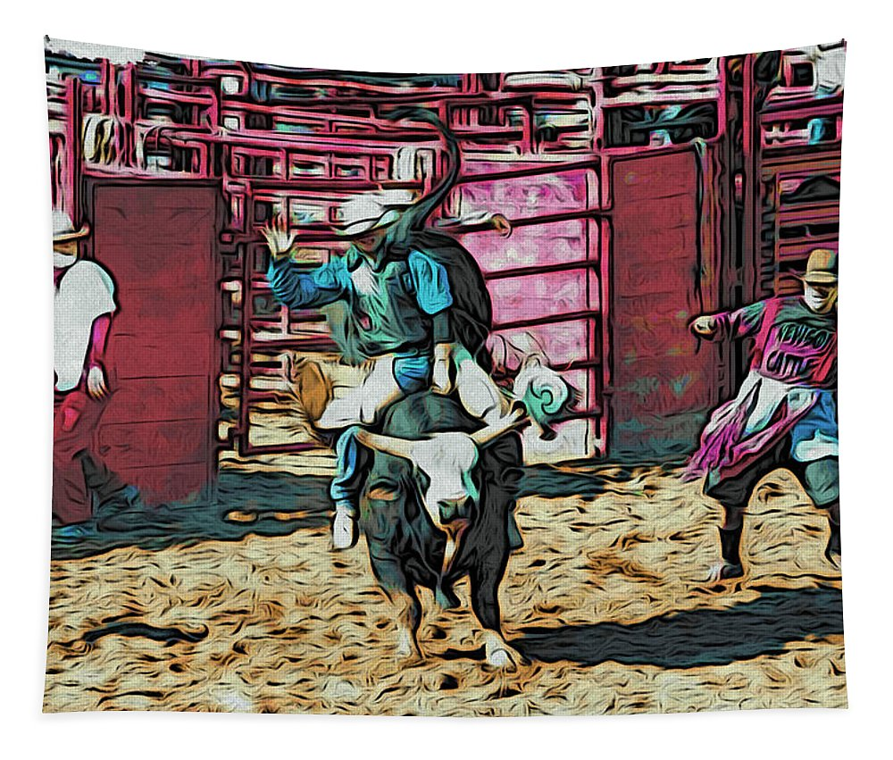 Bullriding Tapestry featuring the photograph Whitey by Alice Gipson