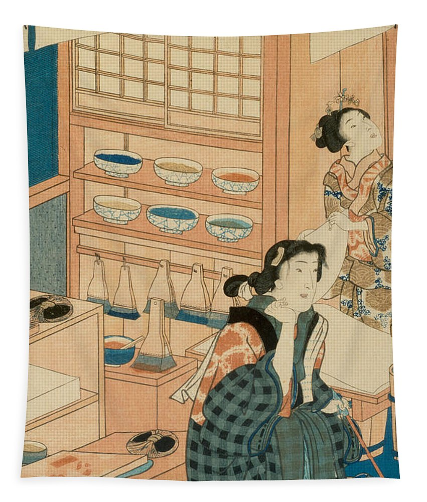 Woodblock Production (woodcut) Tapestry featuring the painting Woodblock Production by Japanese School