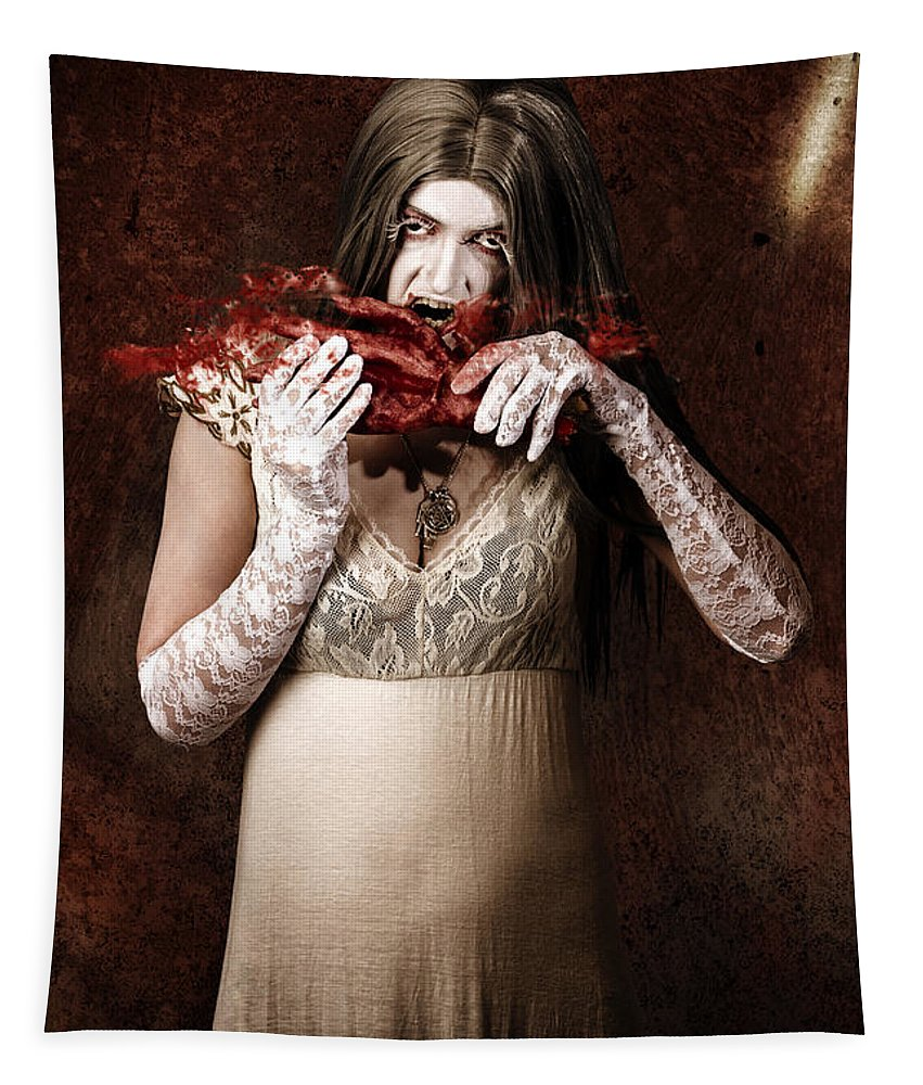 Blood Tapestry featuring the photograph Zombie Vampire Woman Eating Human Hand 1 by Jorgo Photography - Wall Art Gallery