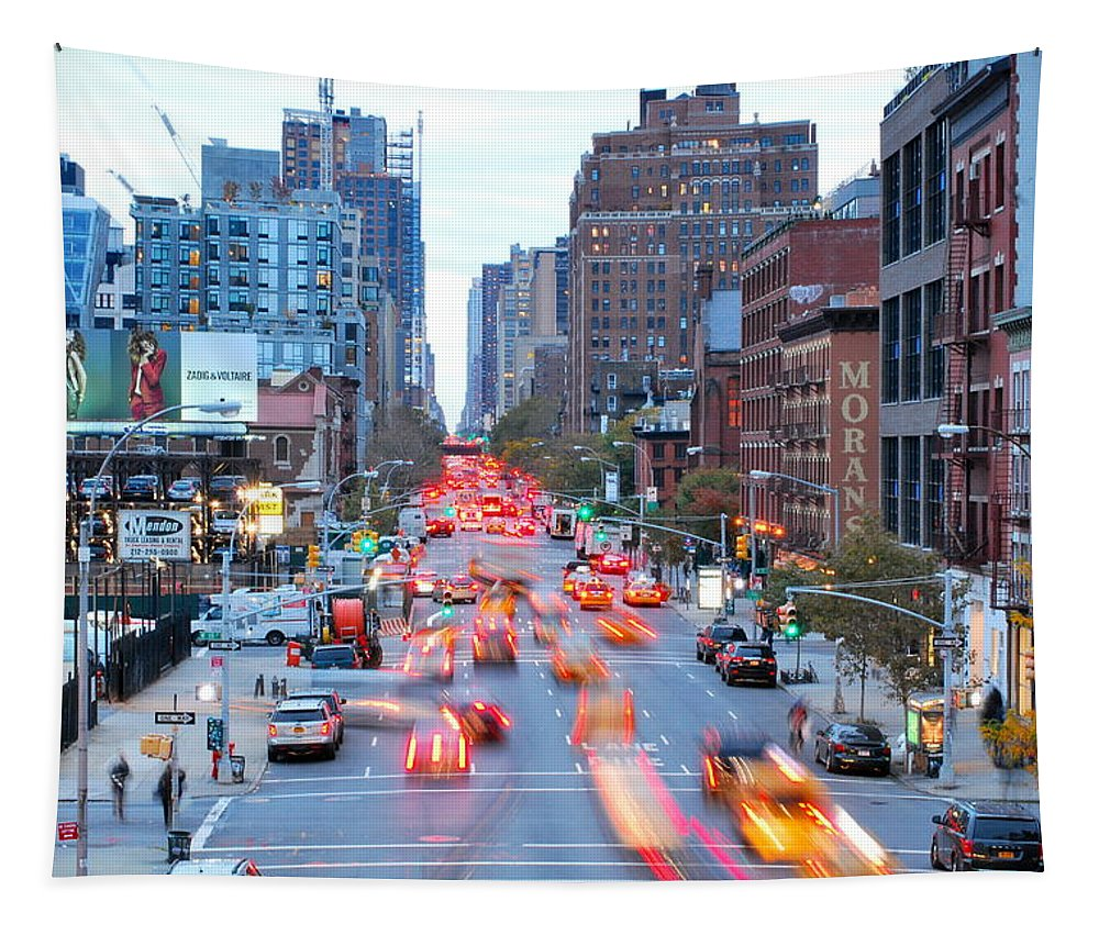 New York City Tapestry featuring the photograph 10th Avenue Rush Hour by Kurt Von Dietsch