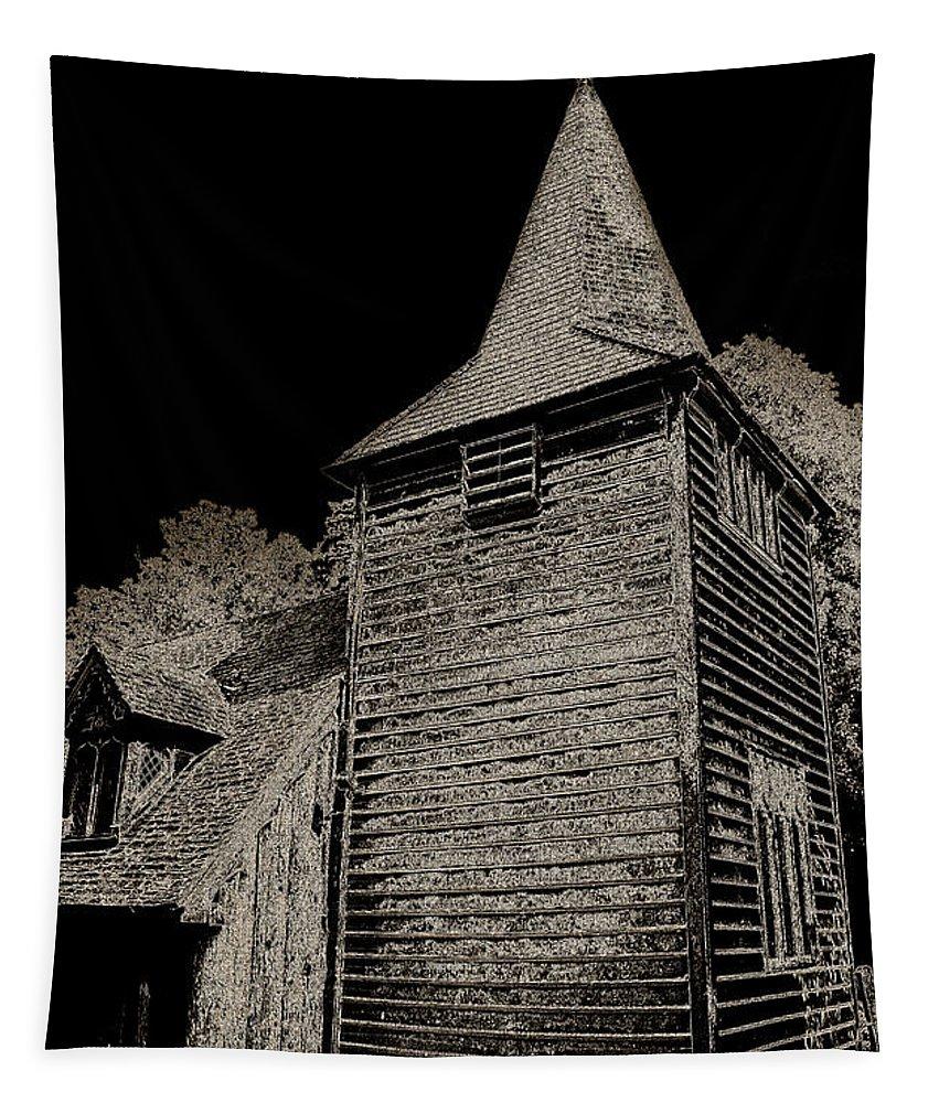 Church Tapestry featuring the digital art Greensted Church by David Pyatt