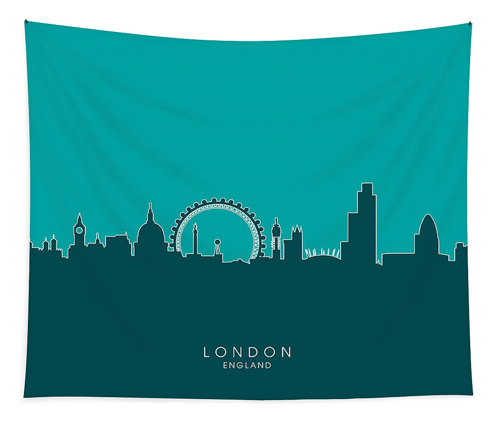 London Tapestry featuring the digital art London England Skyline by Michael Tompsett