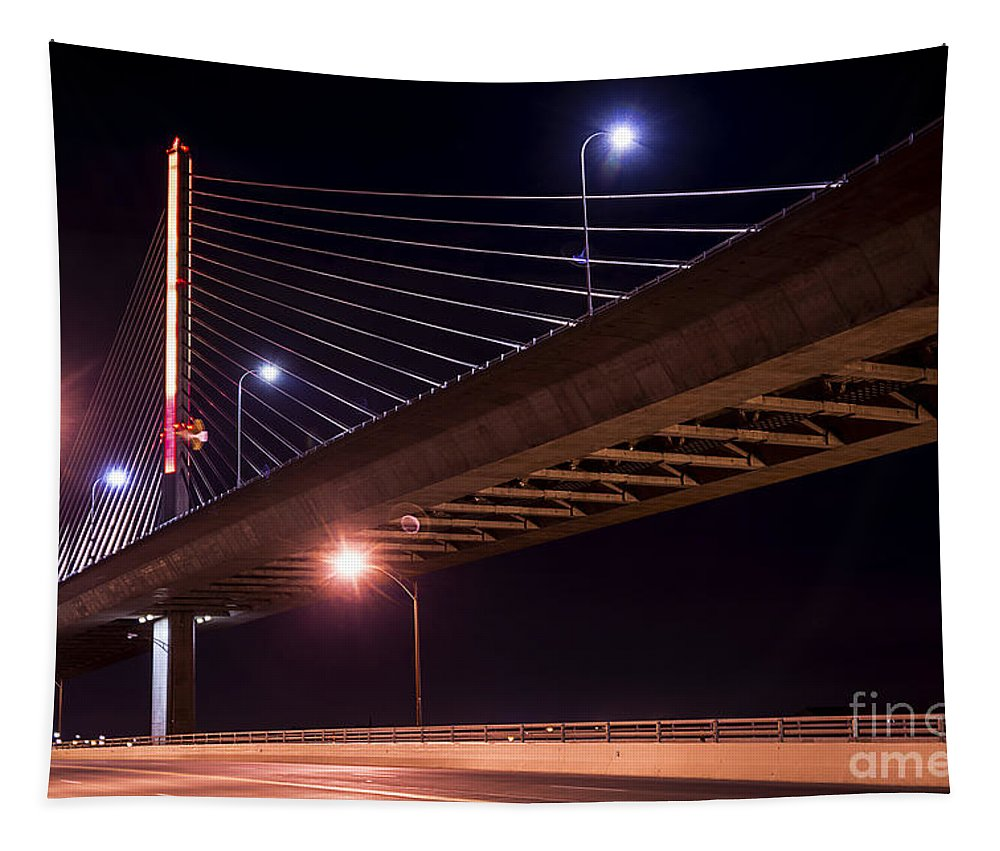 Night Tapestry featuring the photograph Veterans Glass City Skyway Bridge by Michael Shake