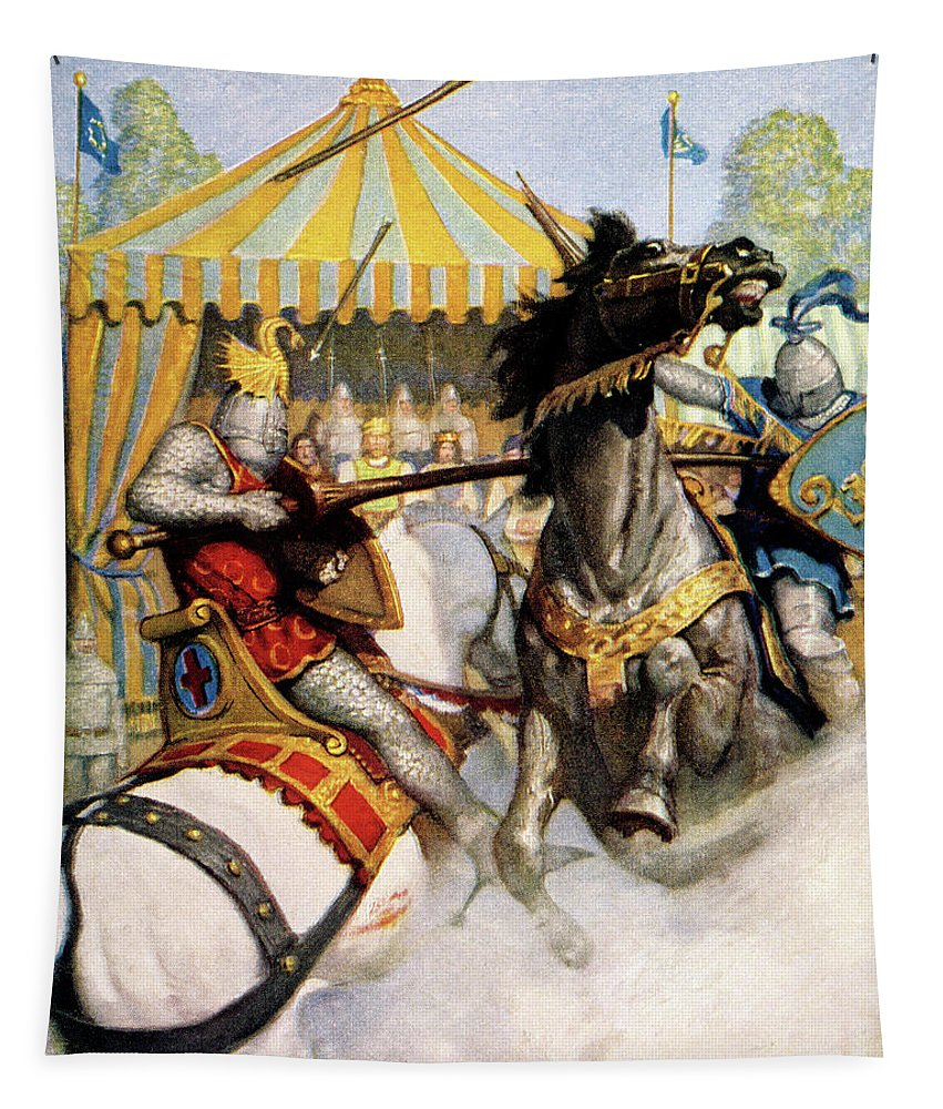 Vertical Tapestry featuring the painting 1200s Two Jousting Medieval Knights by Vintage Images