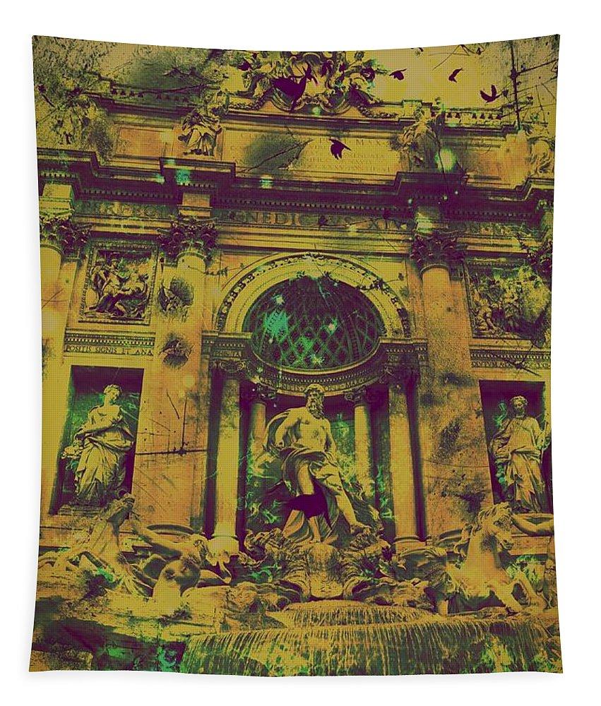 Trevi Fountain Tapestry featuring the digital art Trevi Fountain by Marina McLain
