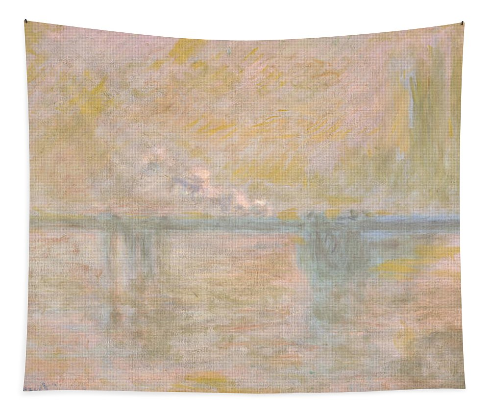 Claude Monet Tapestry featuring the painting Charing Cross Bridge by Claude Monet