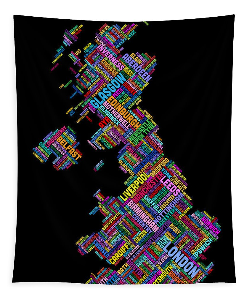 United Kingdom Tapestry featuring the digital art Great Britain Uk City Text Map by Michael Tompsett