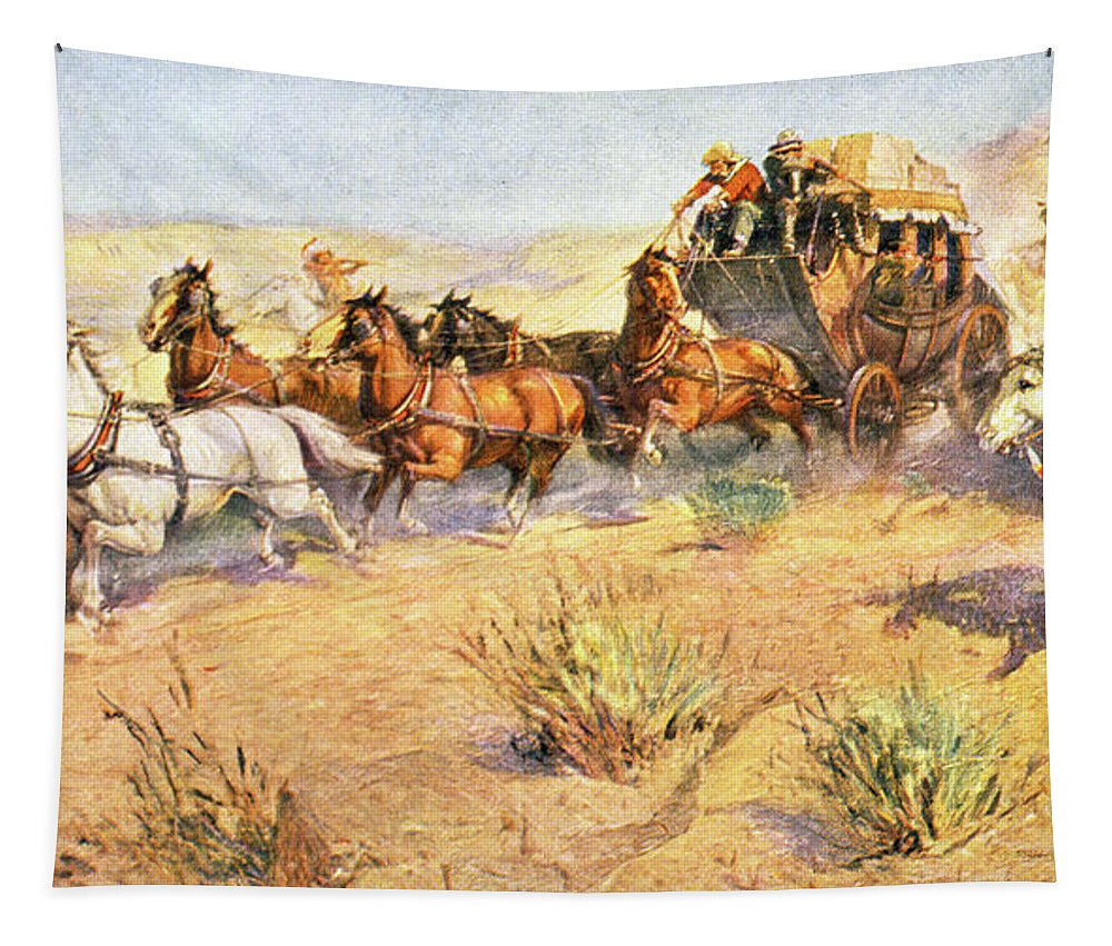 Horizontal Tapestry featuring the painting 1800s 1860s Overland Stage Coach by Vintage Images