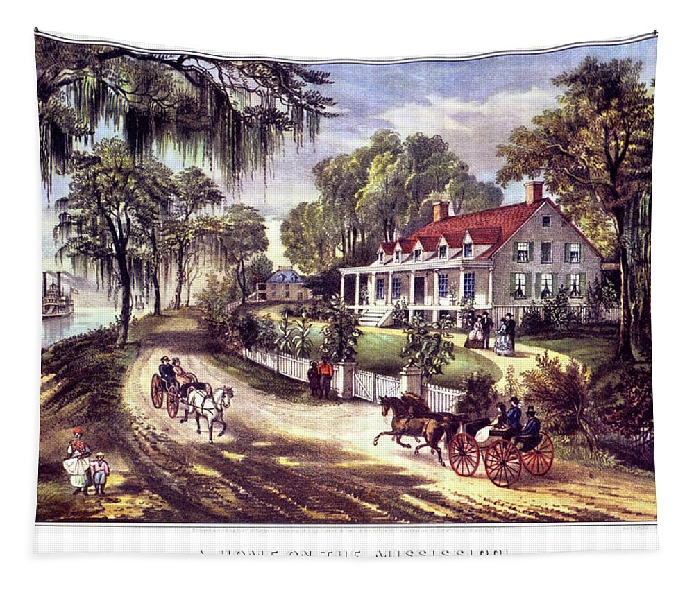 Horizontal Tapestry featuring the painting 1870s 1800s A Home On The Mississippi - by Vintage Images