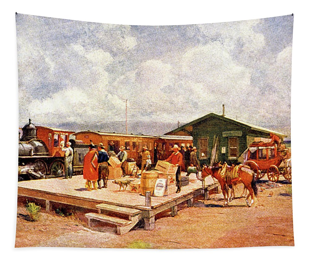Horizontal Tapestry featuring the painting 1870s Early Railroad Commerce Travel by Vintage Images