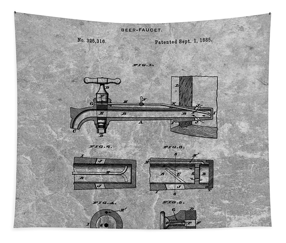 Beer Tap Patent Tapestry featuring the drawing 1885 Beer Tap Patent Charcoal by Dan Sproul