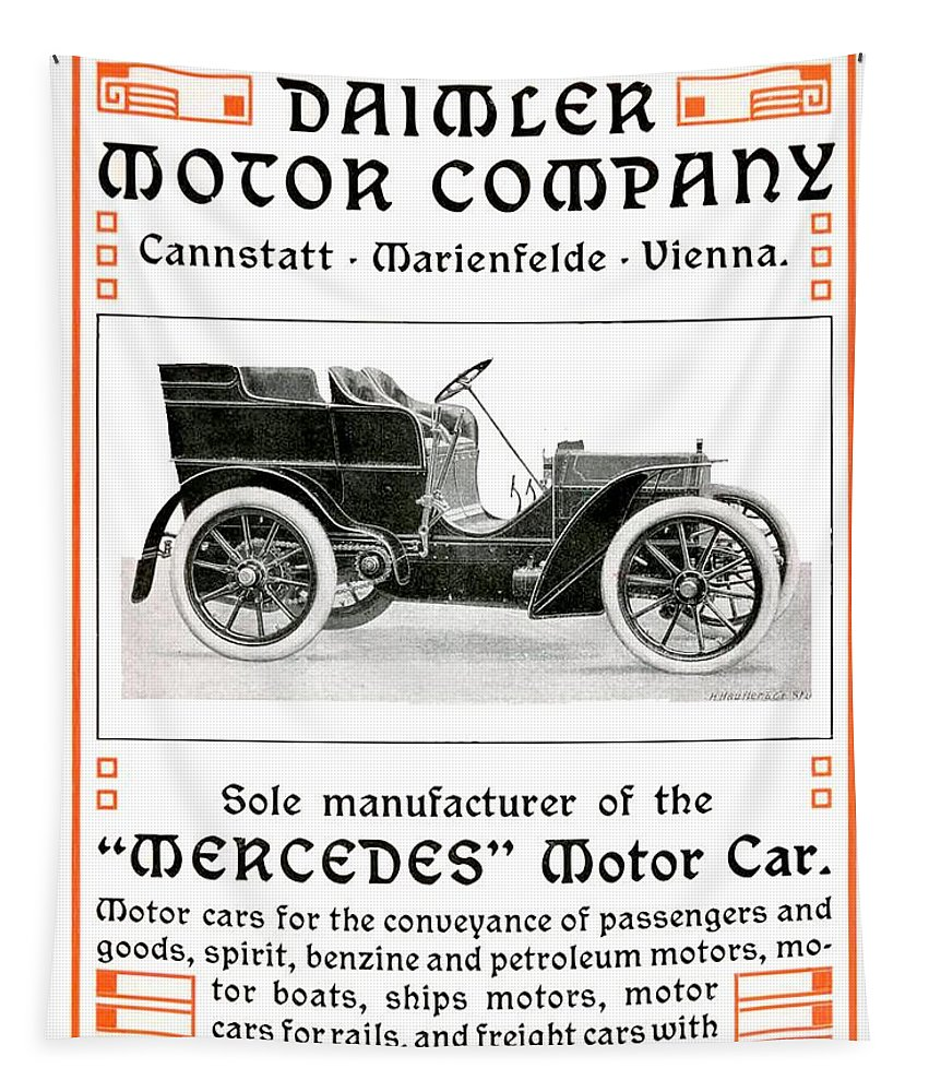 1904 Tapestry featuring the digital art 1904 - Daimler Motor Company Mercedes Advertisement - Color by John Madison